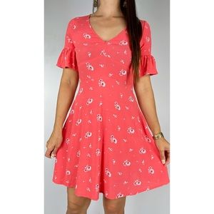 JEANSWEST Pink White Floral Print Short Bell Sleeve A-line Dress Size AU 10